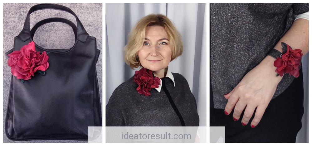 Брошь цветок из кожи в подарок | мастерская IdeaToResult