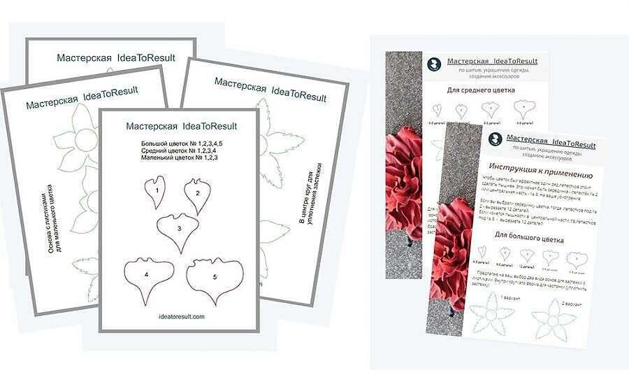 Выкройки для цветка из кожи | Мастер- класс с Илоной Пузене